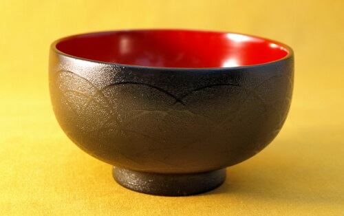 Tsugaru Lacquerware, a traditional Japanese crafts from Aomori, beautiful soup bowl crest coating