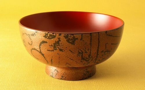 Tsugaru Lacquerware, a traditional Japanese crafts from Aomori, beautiful soup bowl Nishiki coating