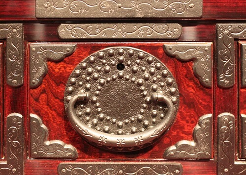 Japanese Iwayado Clothing Chest, details of a product example, metal decoration details