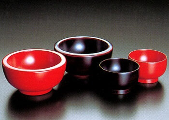 Japanese lacquerware crafts, Johoji Lacquerware product, black and red basic soup bowls