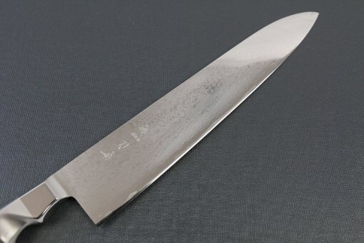 Japanese Chef Knife, Damascus Gyuto size LL, details of blade front