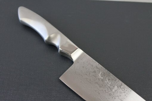 Japanese Chef Knife, Damascus Gyuto size LL, diagonal front view