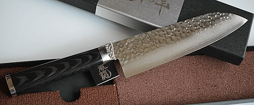 product example of Damascus chef knife made in Japan, echizen