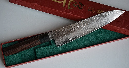 product example of Damascus chef knife made in Japan, sakai