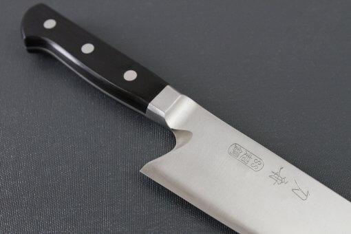 Japanese Highest Quality Chef Knife, Tohu Powder high-speed steel Series, Santoku multi-purpose knife 180mm, diagonal front view