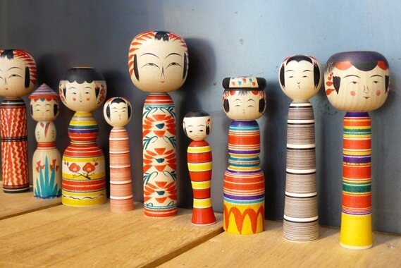 Japanese Traditional Wood Carving Dolls, Kokeshi, variety of designs