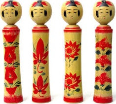 Japanese Traditional Wood Carving Dolls, Kokeshi, Naruko type