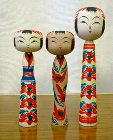 Japanese Traditional Wood Carving Dolls, Kokeshi, Tohgatta type