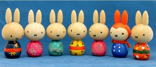 Japanese Traditional Wood Carving Dolls, Kokeshi, unique product of miffy rabit motif