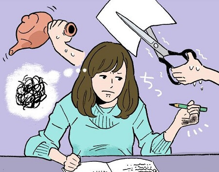 left-handed woman having trouble in her life