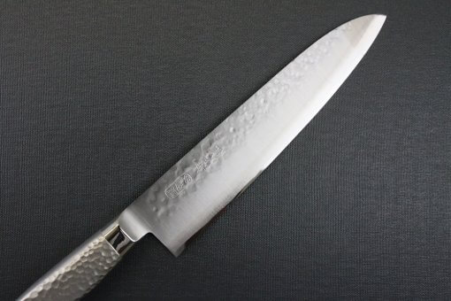 Japanese Chef Knife, Hammer Finish Series, Gyuto chef knife 210mm, details of blade front view