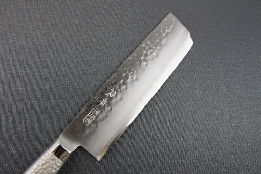 Japanese Chef Knife, Hammer Finish Series, Nakiri Vegetable knife, details of edge front side