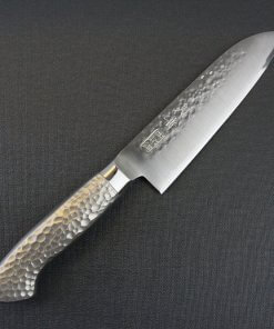 Japanese Chef Knife, Hammer Finish Series, Santoku multi-purpose 150mm, front view