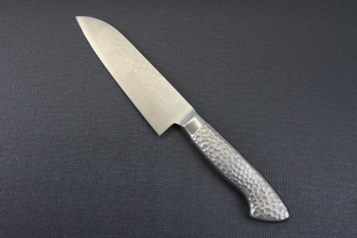 Japanese Chef Knife, Hammer Finish Series, Santoku multi-purpose 150mm, backside view