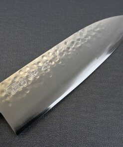 Japanese Chef Knife, Hammer Finish Series, Santoku multi-purpose 165mm, front view of blade