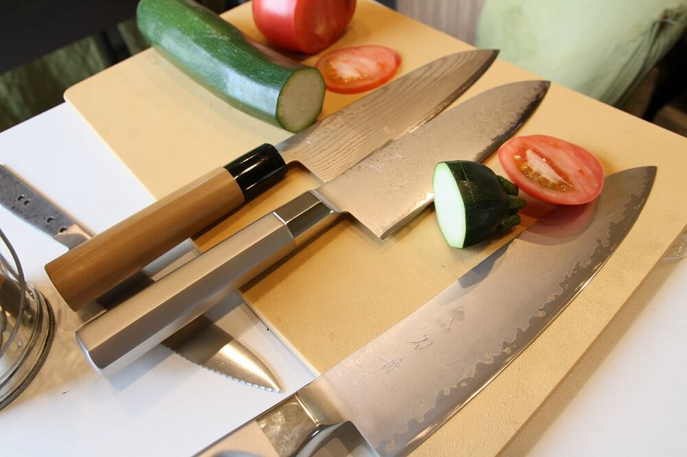 cutting vegetables with extremely sharp Japanese chef knives