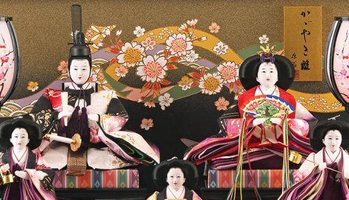Hina dolls, a Japanese doll, gorgeous 5 dolls set Shiori, details of emperor and empress dolls
