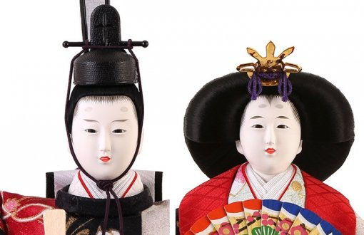 Hina dolls, a Japanese doll, gorgeous 5 dolls set Shiori, details of emperor and empress doll faces