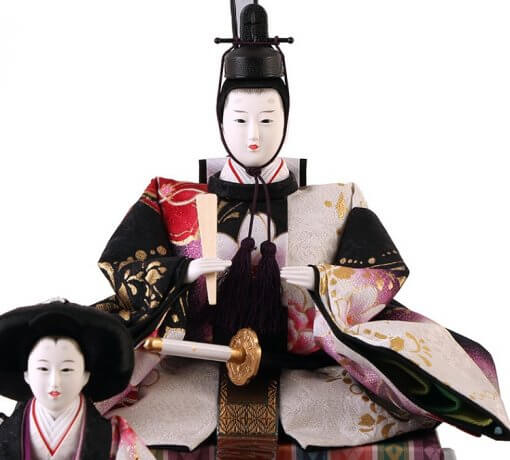 Hina dolls, a Japanese doll, gorgeous 5 dolls set Shiori, entire view of the emperor doll