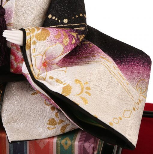 Hina dolls, a Japanese doll, gorgeous 5 dolls set Shiori, details of Yuzen Kimono of the emperor doll