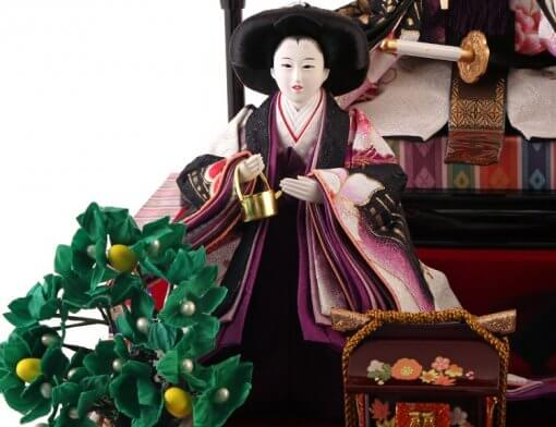 Hina dolls, a Japanese doll, gorgeous 5 dolls set Shiori, entire view of one of the three court ladies (A)
