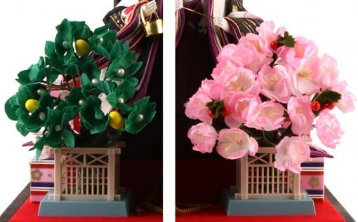Hina dolls, a Japanese doll, gorgeous 5 dolls set Shiori, details of ornament trees