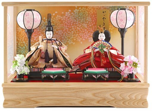 Hina dolls, a Japanese doll, compact size pair dolls set Miyuki (WHite), entire view of the product