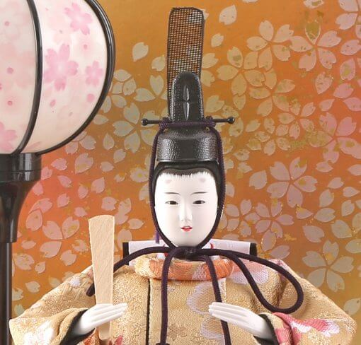 Hina dolls, a Japanese doll, compact size pair dolls set Miyuki (WHite), face of the emperor doll
