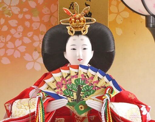 Hina dolls, a Japanese doll, compact size pair dolls set Miyuki (White), face of the empress doll
