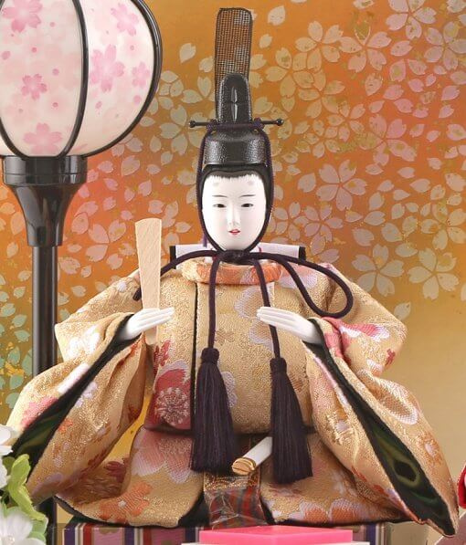Hina dolls, a Japanese doll, compact size pair dolls set Miyuki (White), entire view of the emperor doll