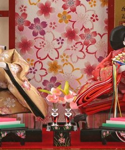 Hina dolls, a Japanese doll, gorgeous pair dolls set Ukibune, details of emperor and empress dolls