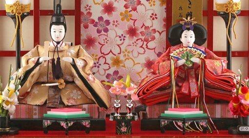 Hina dolls, a Japanese doll, gorgeous pair dolls set Ukibune, details of emperor and empress dolls