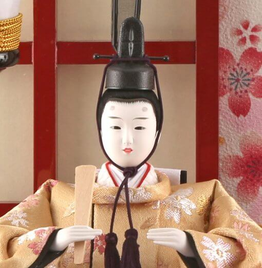 Hina dolls, a Japanese doll, gorgeous pair dolls set Ukibune, details of face of the emperor doll