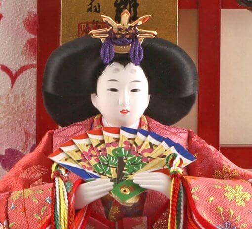 Hina dolls, a Japanese doll, gorgeous pair dolls set Ukibune, details of face of the empress doss