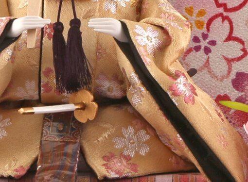 Hina dolls, a Japanese doll, gorgeous pair dolls set Ukibune, details of emperor doll cloth Kimono