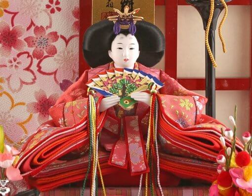 Hina dolls, a Japanese doll, gorgeous pair dolls set Ukibune, entire view of the empress doll