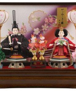 Hina dolls, a Japanese doll, gorgeous pair doll set Hagoromo Purple, entire view
