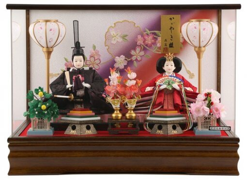 Hina dolls, a Japanese doll, gorgeous pair doll set Hagoromo Purple, entire view