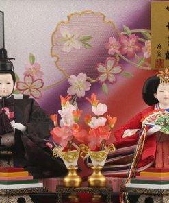 Hina dolls, a Japanese doll, gorgeous pair doll set Hagoromo Purple, details of the pair dolls