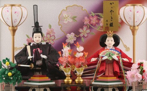 Hina dolls, a Japanese doll, gorgeous pair doll set Hagoromo Purple, details of the pair dolls