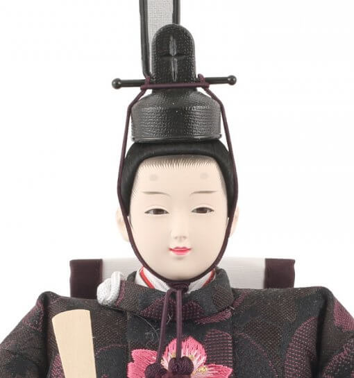 Hina dolls, a Japanese doll, gorgeous pair doll set Hagoromo Purple, face of the emperor doll