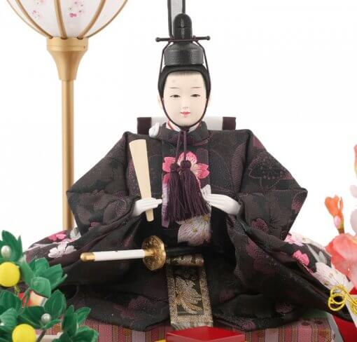 Hina dolls, a Japanese doll, gorgeous pair doll set Hagoromo Purple, entire view of the emperor doll