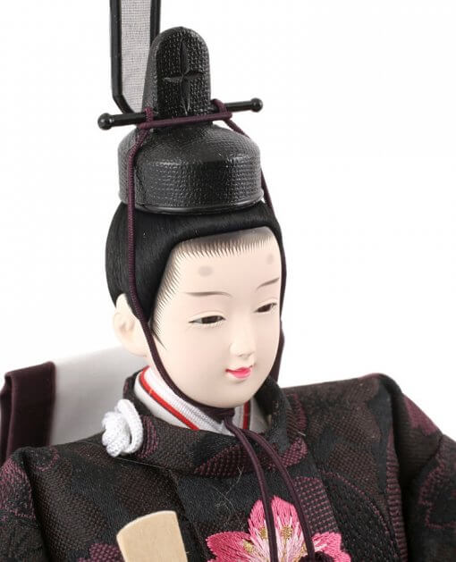 Hina dolls, a Japanese doll, gorgeous pair doll set Hagoromo Purple, diagonal front view of the emperor doll