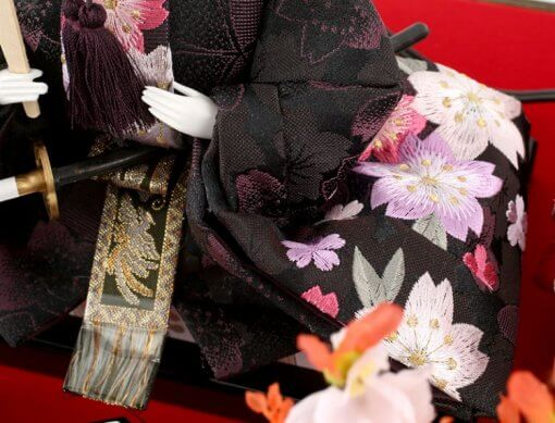 Hina dolls, a Japanese doll, gorgeous pair doll set Hagoromo Purple, details of Kimono cloth of the emperor doll