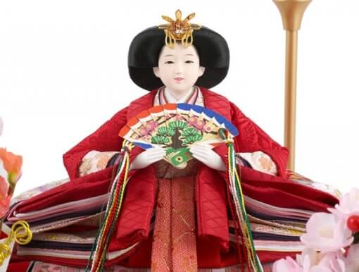 Hina dolls, a Japanese doll, gorgeous pair doll set Hagoromo Purple, entire view of the empress doll