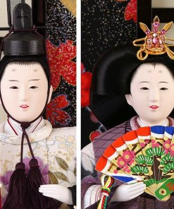 Hina dolls, a Japanese doll, gorgeous 5 dolls set kocho, faces of emperor and empress