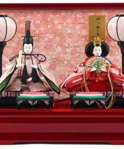Hina dolls, a Japanese doll, compact size pair dolls set Miyuki (Red), entire view of the product