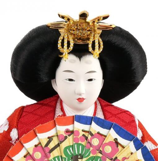 Hina dolls, a Japanese doll, compact size pair dolls set Miyuki (Red), details of face of the empress doll
