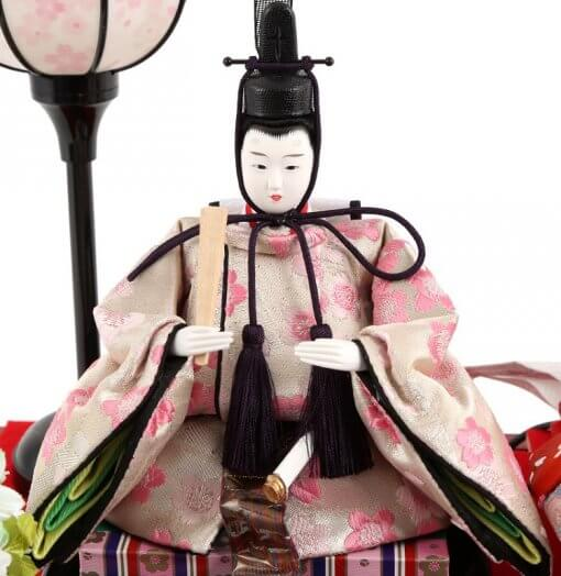 Hina dolls, a Japanese doll, compact size pair dolls set Miyuki (Red), entire view of the emperor doll