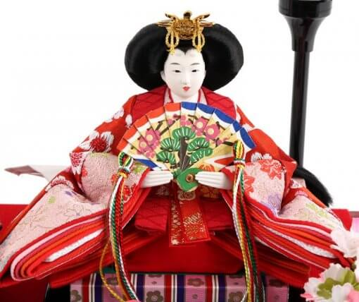 Hina dolls, a Japanese doll, compact size pair dolls set Miyuki (Red), entirei view of the empress doll